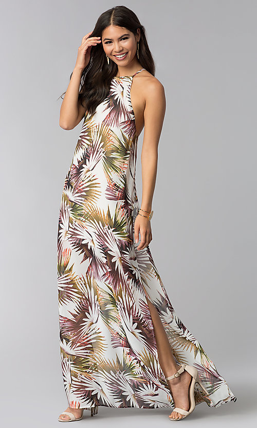 Image of print long wedding guest dress with side slit. Style: LUX-LD4800 Front Image