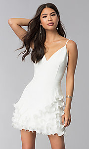 Image of ruffled little white v-neck graduation party dress. Style: LUX-LD4754 Front Image