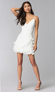 Image of ruffled little white v-neck graduation party dress. Style: LUX-LD4754 Detail Image 3