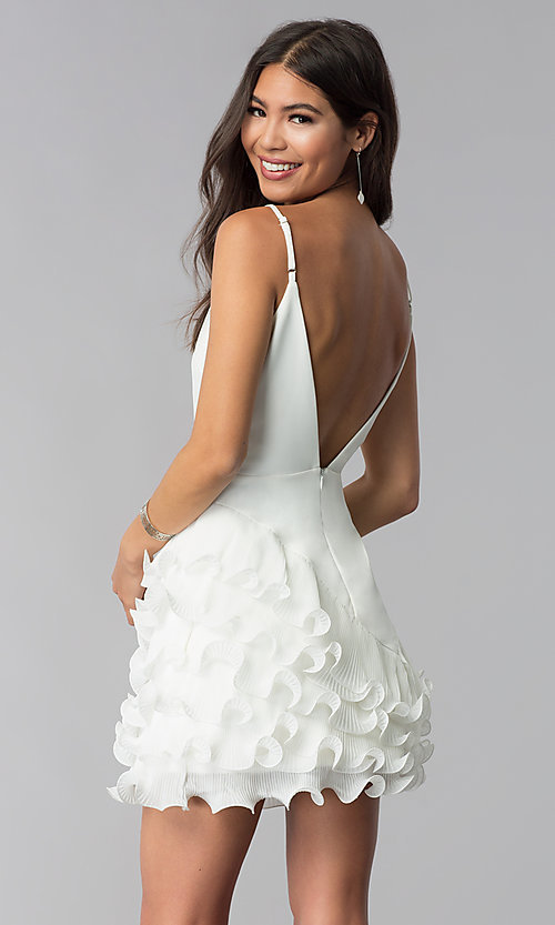 Image of ruffled little white v-neck graduation party dress. Style: LUX-LD4754 Back Image