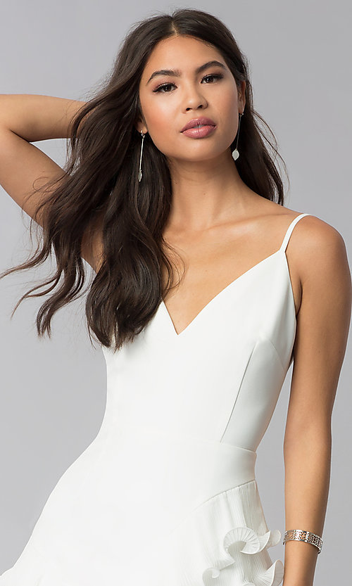 Image of ruffled little white v-neck graduation party dress. Style: LUX-LD4754 Detail Image 1