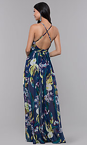Image of open-back floral-print formal wedding-guest dress. Style: LUX-LD4513 Back Image