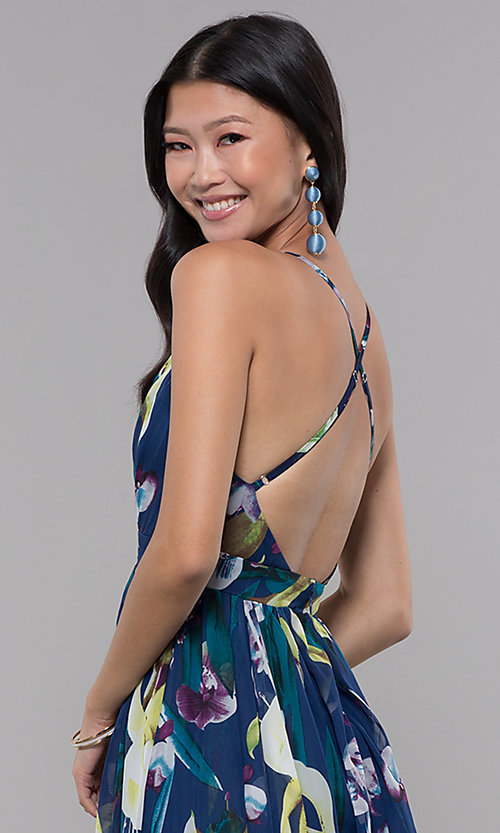 Image of open-back floral-print formal wedding-guest dress. Style: LUX-LD4513 Detail Image 2