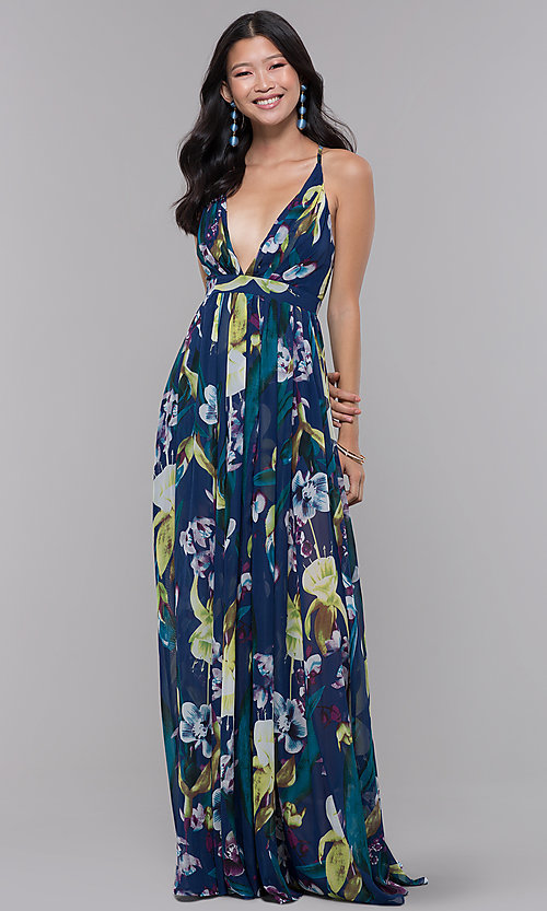 Image of open-back floral-print formal wedding-guest dress. Style: LUX-LD4513 Detail Image 3