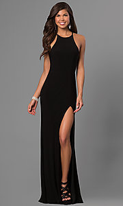 Image of long black Faviana high-neck prom dress with slit. Style: FA-7976B Front Image