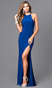 Image of long black Faviana high-neck prom dress with slit. Style: FA-7976B Detail Image 2