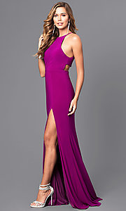 Image of long black Faviana high-neck prom dress with slit. Style: FA-7976B Detail Image 3