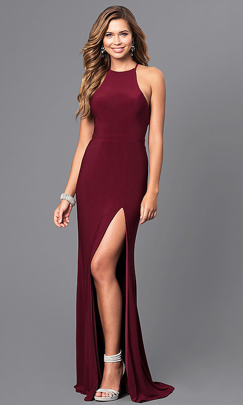 Image of long black Faviana high-neck prom dress with slit. Style: FA-7976B Detail Image 1