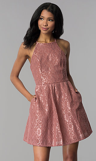 Lace-Applique Short Wedding-Guest Party Dress