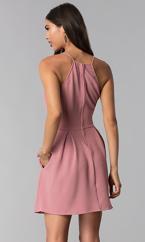 Rose Pink Cheap Wedding Guest Dress With Pockets