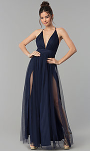 Image of long teal v-neck adjustable-strap prom dress. Style: LP-27450T Detail Image 1
