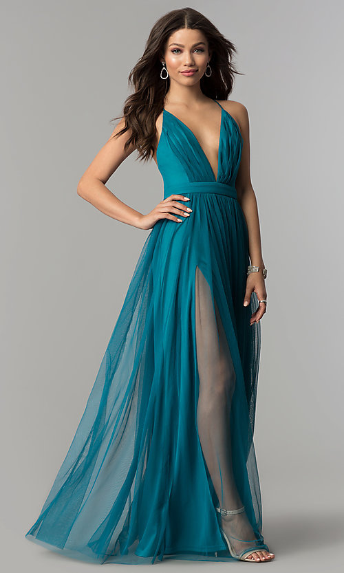 Image of long teal v-neck adjustable-strap prom dress. Style: LP-27450T Front Image
