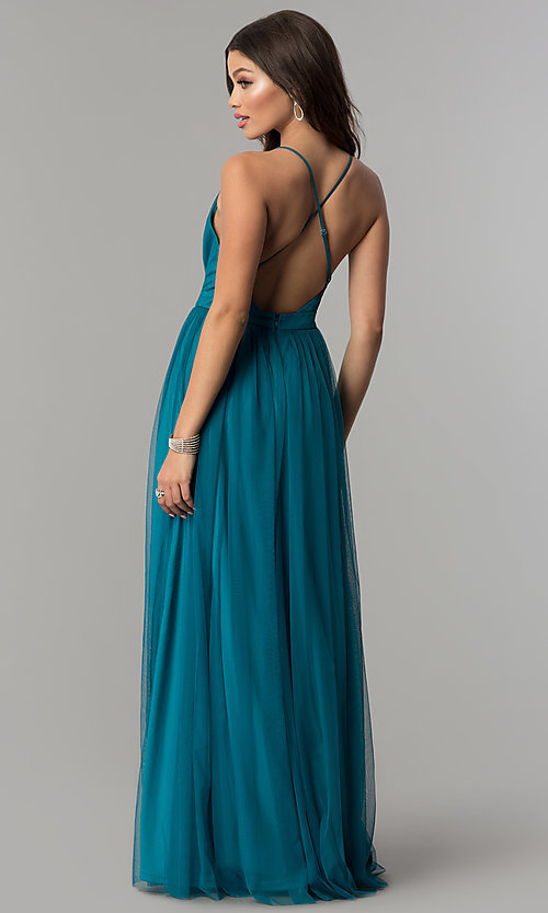 Image of long teal v-neck adjustable-strap prom dress. Style: LP-27450T Back Image