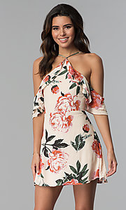 Image of cold-shoulder short floral-print cotton party dress.  Style: AC-DHF24197E Front Image