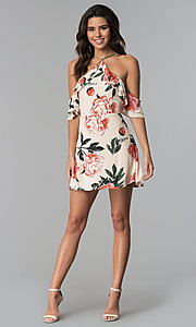 Image of cold-shoulder short floral-print cotton party dress.  Style: AC-DHF24197E Detail Image 3