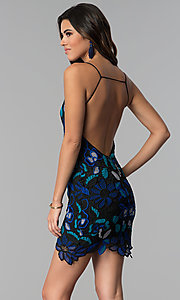 Image of open-back crocheted-lace short party dress.  Style: AC-DS24309T Front Image