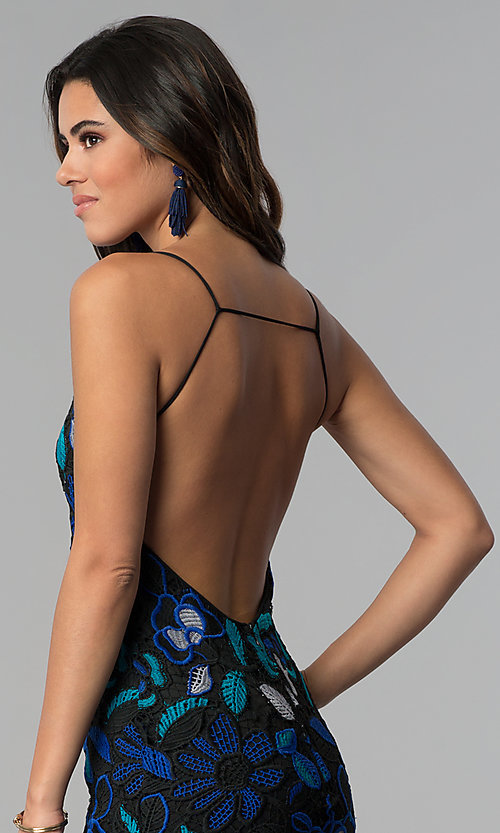 Image of open-back crocheted-lace short party dress.  Style: AC-DS24309T Detail Image 2