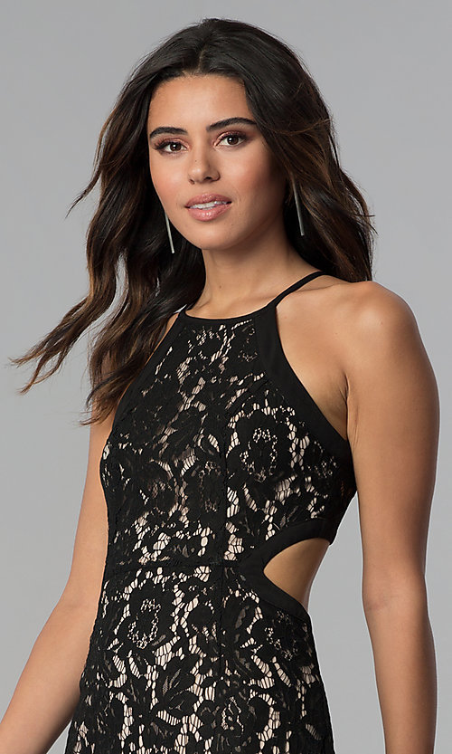 Image of sleeveless high-neck short black lace party dress. Style: AC-DS24384W Detail Image 1