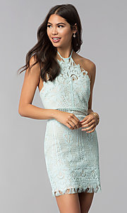 Image of open-back halter lace wedding guest party dress. Style: AC-DS24323T Front Image