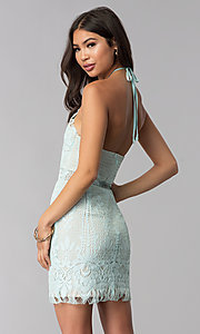 Image of open-back halter lace wedding guest party dress. Style: AC-DS24323T Back Image