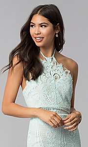 Image of open-back halter lace wedding guest party dress. Style: AC-DS24323T Detail Image 1