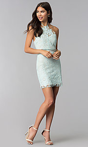 Image of open-back halter lace wedding guest party dress. Style: AC-DS24323T Detail Image 2