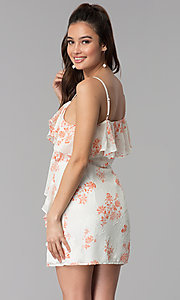 Image of floral-print short ivory party dress with ruffles.  Style: AC-DSS24458W Back Image