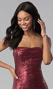 Image of wine red strapless long sequin prom dress. Style: LUX-LD4474 Detail Image 1