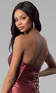 Image of wine red strapless long sequin prom dress. Style: LUX-LD4474 Detail Image 2
