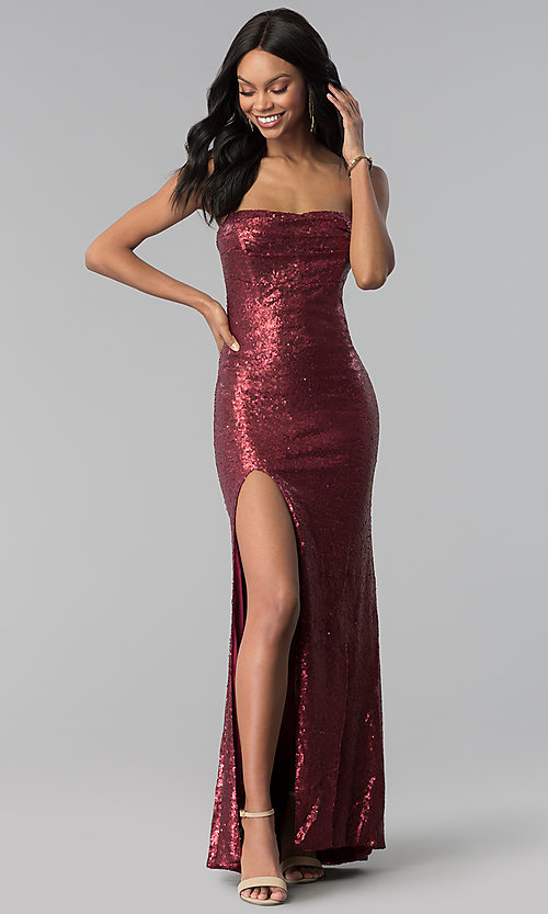 Image of wine red strapless long sequin prom dress. Style: LUX-LD4474 Front Image