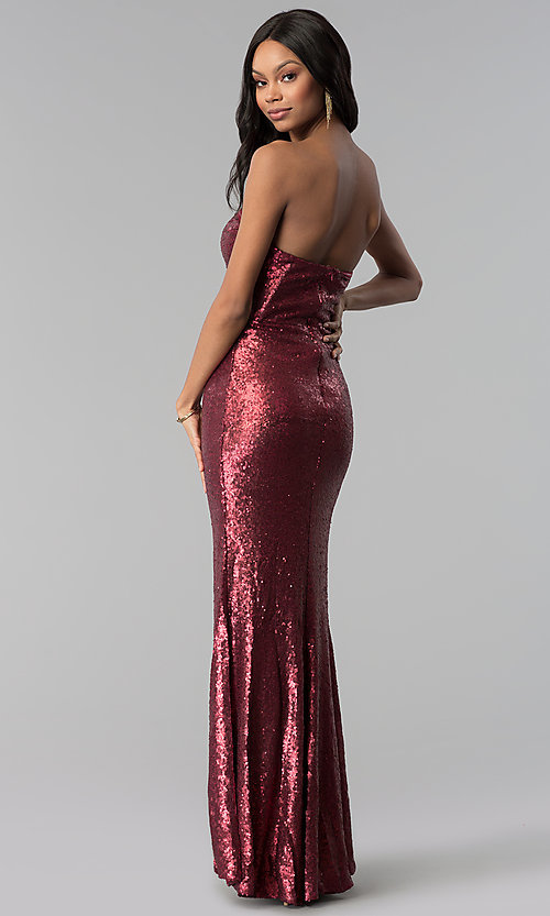 Image of wine red strapless long sequin prom dress. Style: LUX-LD4474 Back Image