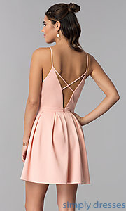 Image of short v-neck casual party dress in light pink. Style: AC-DH24470B Back Image