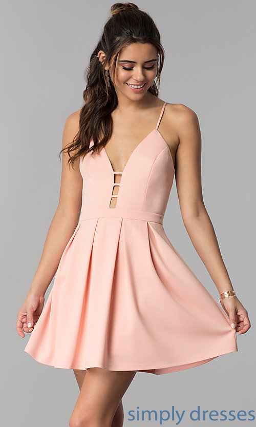 Image of short v-neck casual party dress in light pink. Style: AC-DH24470B Front Image