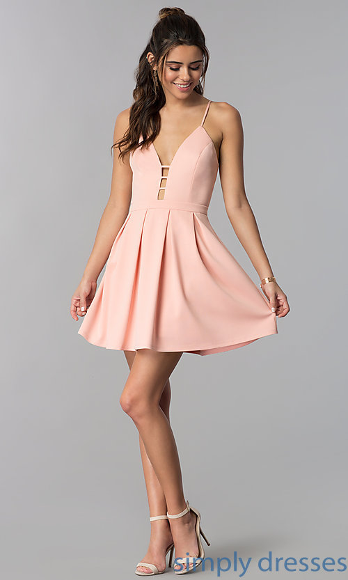 Image of short v-neck casual party dress in light pink. Style: AC-DH24470B Detail Image 3