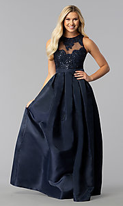Image of sateen long a-line illusion prom dress Style: SOI-M17087 Detail Image 3