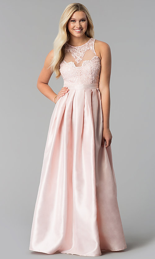 Image of sateen long a-line illusion prom dress Style: SOI-M17087 Front Image