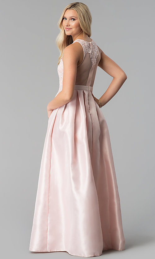 Image of sateen long a-line illusion prom dress Style: SOI-M17087 Back Image