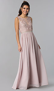 Image of mauve long chiffon prom dress with embroidered lace. Style: SOI-M17879 Front Image