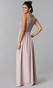Image of mauve long chiffon prom dress with embroidered lace. Style: SOI-M17879 Back Image