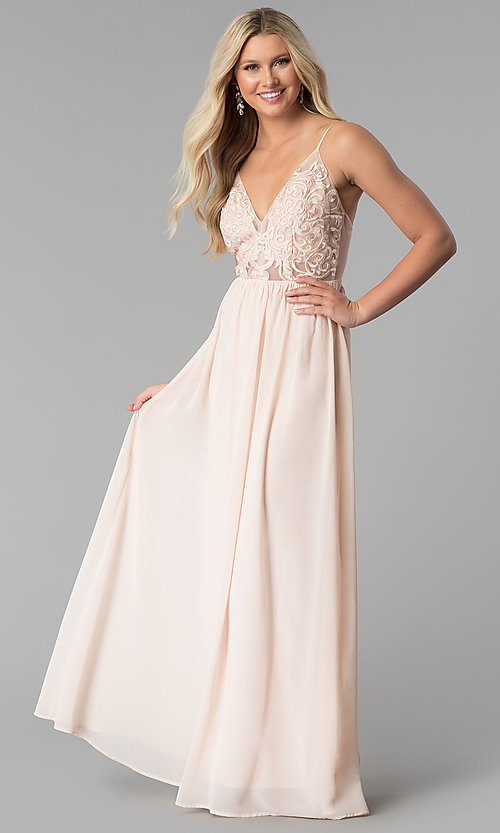 956349978d Image of long embroidered-mesh-bodice v-neck prom dress. Style: