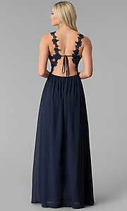 Image of open-back long prom dress with floral-lace applique. Style: SOI-M17751 Back Image