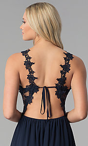Image of open-back long prom dress with floral-lace applique. Style: SOI-M17751 Detail Image 2