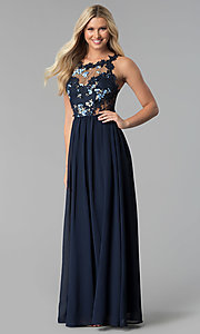 Image of open-back long prom dress with floral-lace applique. Style: SOI-M17751 Front Image
