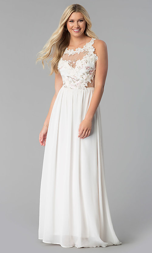 Image of open-back long prom dress with floral-lace applique. Style: SOI-M17751 Detail Image 3