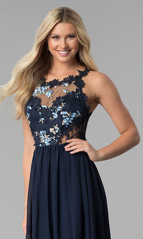 Image of open-back long prom dress with floral-lace applique. Style: SOI-M17751 Detail Image 1