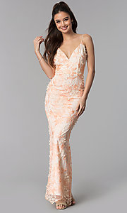 Image of long v-neck prom dress with blush pink embroidery. Style: SOI-M17880 Front Image