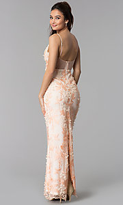Image of long v-neck prom dress with blush pink embroidery. Style: SOI-M17880 Back Image