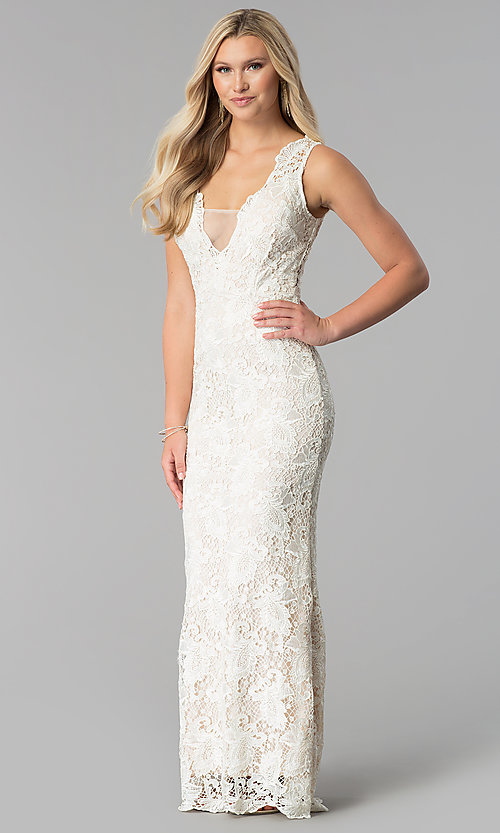 Image of illusion-v-neck long ivory lace prom dress. Style: SOI-M17295 Front Image