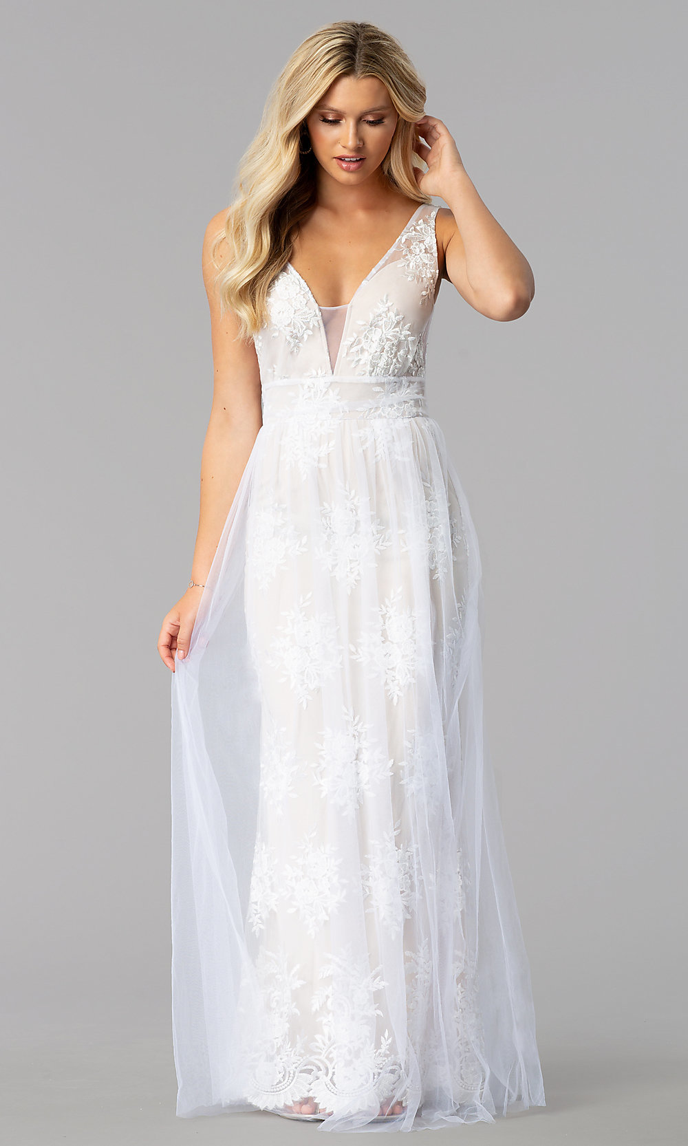 Embroidered-Mesh Long Prom Dress with V-Neck -PromGirl
