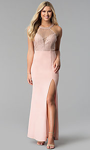 Image of long high-neck sheer-bodice prom dress with slit. Style: SOI-M17960 Front Image